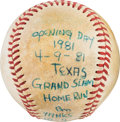 Baseball Collectibles:Balls, 1981 Bobby Murcer Game Used Opening Day Grand Slam Home Run Baseball from The Bobby Murcer Collection. ...