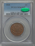 Two Cent Pieces: , 1868 2C MS63 Red and Brown PCGS. CAC. PCGS Population (92/232). NGC Census: (28/195). Mintage: 2,803,750. Numismedia Wsl. P...