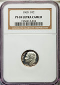 Proof Roosevelt Dimes, 1960 10C PR69 Ultra Cameo NGC. NGC Census: (92/0). PCGS Population(125/0). Numismedia Wsl. Price for problem free NGC/PCG...