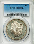 Morgan Dollars: , 1883 $1 MS63 Prooflike PCGS. PCGS Population: (296/335). NGC Census: (155/237). CDN: $90 Whsle. Bid for NGC/PCGS MS63. Mint...