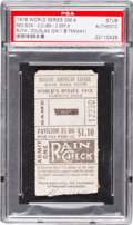 Baseball Collectibles:Tickets, 1918 World Series Game Four Ticket Stub, PSA Authentic--Babe Ruth'sRecord Scoreless Innings Streak Ends....