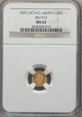 California Fractional Gold , 1872 50C Liberty Octagonal 50 Cents, BG-913, R.4, MS62 NGC. NGCCensus: (2/16). PCGS Population (7/55). ...