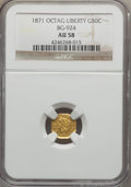California Fractional Gold , 1871 50C Liberty Octagonal 50 Cents, BG-924, R.3, AU58 NGC. NGCCensus: (11/23). PCGS Population (42/167). ...