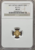 California Fractional Gold , 1871 50C Liberty Octagonal 50 Cents, BG-912, R.3, MS62 NGC. NGCCensus: (8/21). PCGS Population (42/92). ...