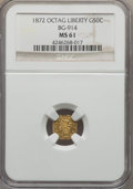 California Fractional Gold , 1872 50C Liberty Octagonal 50 Cents, BG-914, R.4, MS61 NGC. NGCCensus: (1/13). PCGS Population (2/53). ...