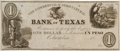Miscellaneous, Columbia, Texas. The Commercial & Agricultural Bank of TexasOne Dollar or One Peso Currency Note. ...