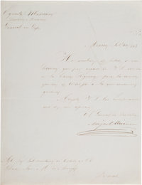 Miguel Miramón Letter Signed as General in the Mexican Army