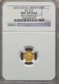 California Fractional Gold , 1870 50C Liberty Octagonal 50 Cents, BG-922, R.3, -- Rev Damage --NGC Details. UNC. NGC Census: (0/16). PCGS Population (4...