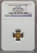 California Fractional Gold , 1870 50C Goofy Head Octagonal 50 Cents, BG-936, Low R.5, -- ObvScratched -- NGC Details. UNC. NGC Census: (0/6). PCGS Popu...