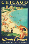 Fine Art - Work on Paper:Print, After Paul Proehl (American, 1887-1965). Chicago: The Vacation City, an Illinois Central Railroad poster. Color poster o...