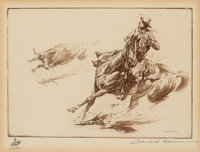 Edward Borein (American, 1873-1945) Roped Steer Etching and drypoint on paper 4-7/8 x 6-7/8 inche