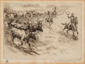 Fine Art - Work on Paper:Print, Edward Borein (American, 1873-1945). Heading 'em in. Etchingand drypoint on paper. 4-7/8 x 6-3/4 inches (12.4 x 17.1 cm...