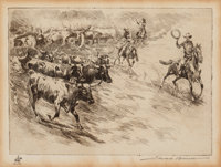 Edward Borein (American, 1873-1945) Heading 'em in Etching and drypoint on paper 4-7/8 x 6-3/4 in