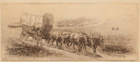 Edward Borein (American, 1873-1945) Emigrant Train Etching and drypoint on paper 5-7/8 x 14 inche