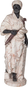 Decorative Arts, Continental, A Large Mixed Marble Figure of a Moorish Man, 20th century. 63inches high (160.0 cm). ...