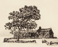 Fine Art - Work on Paper:Print, Norma Gloria Morgan (American, b. 1928). Middle Dene Farm. Engraving on paper. 8-3/8 x 10-1/4 inches (21.3 x 26 cm) (ima...