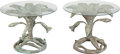 Furniture : American, A Pair of Arthur Court Patinated Bronze and Glass Lily SideTables, circa 1970. 18-3/4 inches high x 23-3/4 inch... (Total: 4Items)