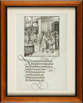 Books:Prints & Leaves, [German Engravings]. Framed Leaf from Theuredank. Augsburg:1517....
