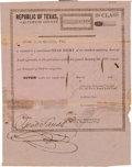 Miscellaneous, Galveston County Second Class Head Right Certificate....