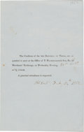Miscellaneous, Printed Circular Announcing a Meeting for Creditors of the LateRepublic of Texas. ...