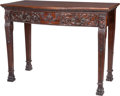 Furniture , A Thomas Chippendale-Style Mahogany Console Table, 20th century. 34-1/2 inches high x 46 inches wide x 23-1/2 inches deep (8...