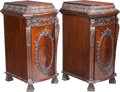 Furniture , A Pair of Thomas Chippendale-Style Architectural Mahogany Cabinets, early 20th century. 45 inches high x 24 inches wide x 27... (Total: 2 Items)