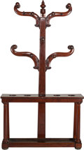 Furniture : Continental, A Victorian Carved Mahogany Cue Rack, late 19th century. 77 incheshigh x 42 inches wide x 10 inches deep (195.6 x 106.7 x 2...