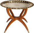 Furniture : Continental, An Italian Teak and Brass Tray Table in the Manner of Gio Ponti,circa 1970. 18 inches high x 23-3/4 inches diameter (45.7 x...(Total: 2 Items)