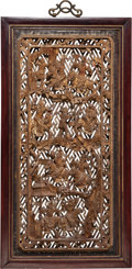 Asian:Chinese, A Chinese Carved and Gilt Rosewood Panel, 20th century. 50 incheshigh x 26 inches wide (127 x 66.0 cm). PROPERTY FROM THE...