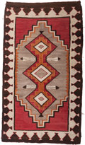 Textiles, A Navajo Red Mesa Regional Rug, circa 1930. 69 inches high x 39 inches wide (175.3 x 99.1 cm). ...