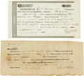 Miscellaneous, Two Gail Borden, Jr. Receipts Issued as Collector for theDepartment of the Brazos.... (Total: 2 Items)