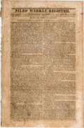 Miscellaneous:Newspaper, [Jim Bowie]. Niles Weekly Register, No. 12 of Vol.,Featuring an Account of Jim Bowie's Vidalia Sandbar Fight. ...