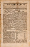 Miscellaneous:Newspaper, First Declaration of Independence by the Province of Texas Printed in The Weekly Register. ...