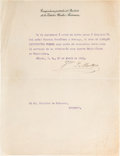 Autographs, [Mexican Revolution]. Francisco Madero Typed Document Signed asPresident. ...