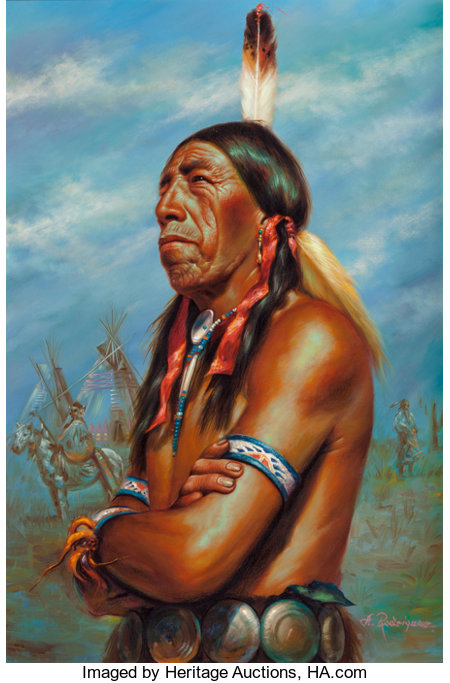 Alfredo Rodriguez (American, b. 1954) Chief Black Elk Oil on canvas 30 x 20 inches (76.2 x 50.8 cm) Signed lower rig...