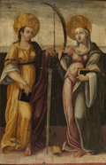 Fine Art - Painting, European:Antique  (Pre 1900), Central Italian or Spanish School (18th Century). SaintCatherine of Alexandria and a Female Martyred Saint, circa1700...