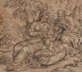 Fine Art - Work on Paper:Drawing, Italian School (17th Century). Rest on the Flight to Egypt.Charcoal heightened with white on brown-toned paper. 8 x 8-1...