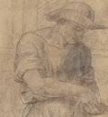Fine Art - Work on Paper:Drawing, Italian School (16th Century). Counting Money. Black chalkon paper. 5 x 4-1/2 inches (12.7 x 11.4 cm) (sight). PROPER...