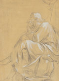 Fine Art - Work on Paper:Drawing, Italian School, circa 1800. A Seated Philosopher. Chalkheightened with white on paper prepared with a yellow wash. 10-1...