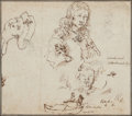 Fine Art - Work on Paper:Drawing, Niccolo Simonetti (Italian, 17th Century). Four Figural Studies,and a further study of a Boat (five works). Black chalk...