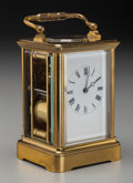 Decorative Arts, French:Other , A French Brass and Glass Carriage Clock, 19th century. 7 incheshigh (17.8 cm). ...