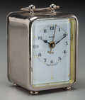 Clocks & Mechanical:Clocks, A Small Italian Silvered Metal Carriage-Style Clock, 20th century. Marks: VEGLIA, MADE IN ITALY. 3-1/2 inches high (8.9 ...