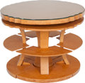 Furniture , A Six Piece American Modernist Burlwood Segmented Center Table, circa 1935 23 inches high x 35 inches diameter (58.4 x 88.9... (Total: 6 Items)