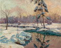 Paintings, Ralph Cone (Irish, 20th Century). Snowy Landscape at Dusk. Oil on canvas. 24-1/4 x 30 inches (61.6 x 76.2 cm). Signed lo...