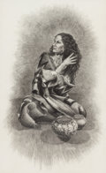 Fine Art - Work on Paper:Drawing, R. Morris Patterson (American, 20th Century). Native AmericanWoman, 1985. Pencil on paper. 21-1/4 x 16-3/4 inches (54 x...