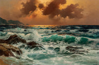 Alexander Dzigurski II (American, 1968) Sunset at Sea Oil on canvas 28 x 42 inches (71.1 x 106.7