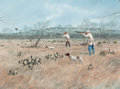 Works on Paper, John Dearman (American, 20th Century). Texas Bird Hunting, 1995. Watercolor and gouache on paper. 21-1/4 x 29 inches (54...