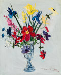 Fine Art - Painting, American:Contemporary   (1950 to present)  , David Sims (American, 20th Century). Floral Still Life. Oilon masonite. 30 x 25 inches (76.2 x 63.5 cm). Signed lower r...
