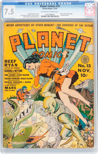 Planet Comics #15 (Fiction House, 1941) CGC VF- 7.5 Off-white to white pages
