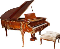 A Louis XVI-Style Gaveau Gilt Bronze Mounted Satinwood and Mahogany Piano with Associated Bench, circa 1900 and late